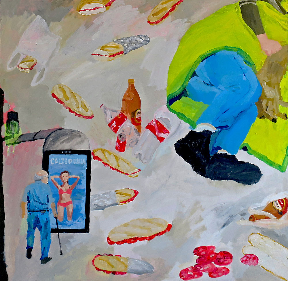Antonio Asensi, Calzedonia: bocadillos de chorizo. 2018, acrílico sobre tabla, 100 x 100 cm