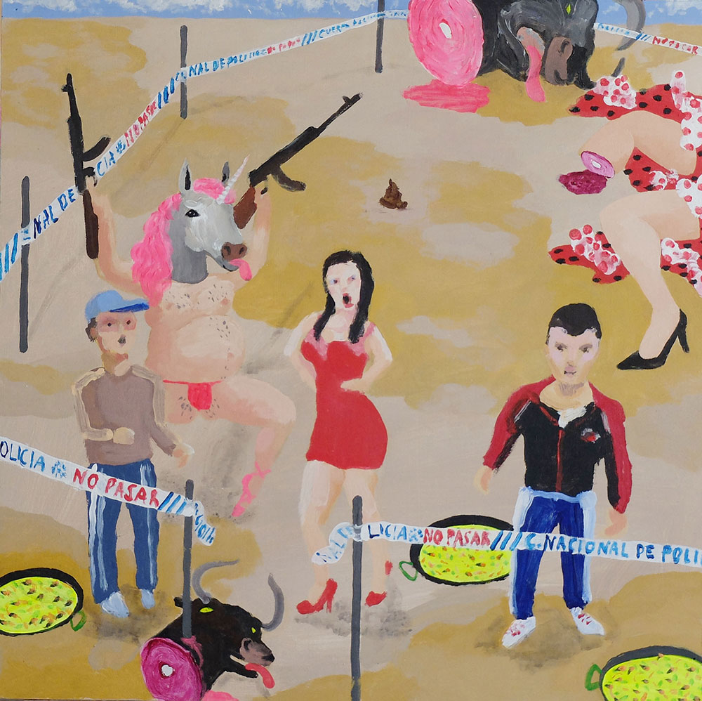 Antonio Asensi, Chonis in a paella crime scene. 2016, acrylic on plywood, 50 x 50 cm