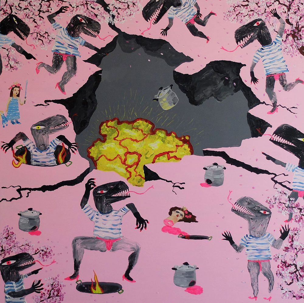 Antonio Asensi, El sacrifice de la olla exprés and the paella holes in the time of the almendro's flowers. 2016, acrylic on plywood, 100 x 100 cm.