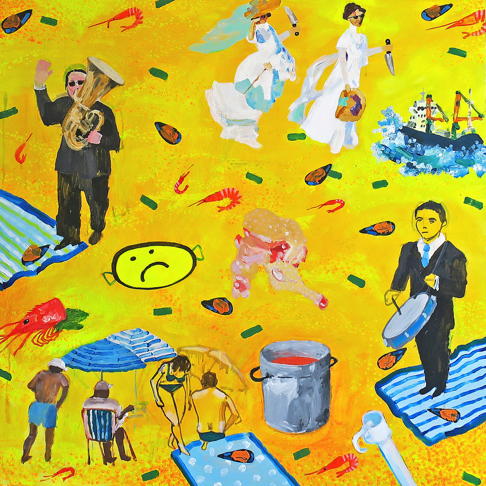 Antonio Asensi, Sorolla psycho killers and sad paella. 2017, acrylic on plywood, 100 x 100 cm