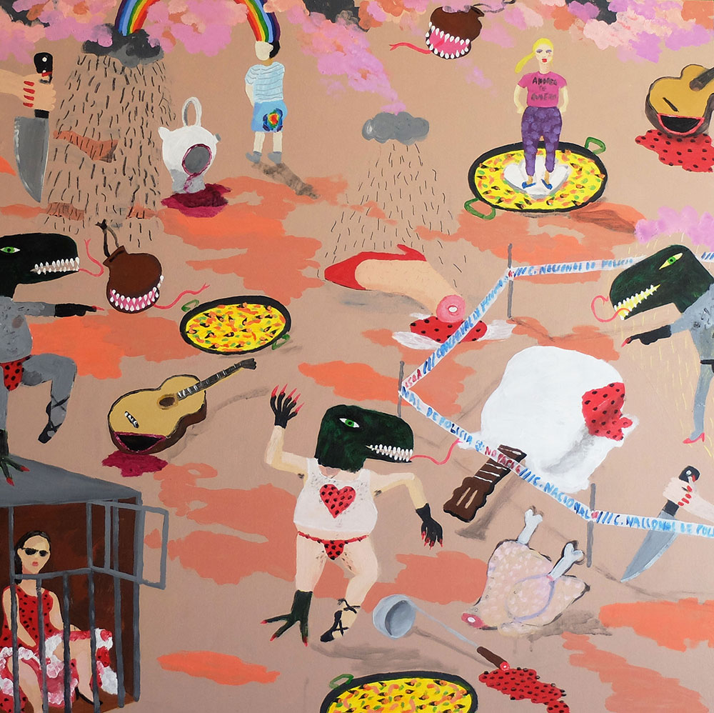 Antonio Asensi, Tonadillera in jail and the murdered guitarra española. 2015, acrylic on plywood, 100 x 100 cm