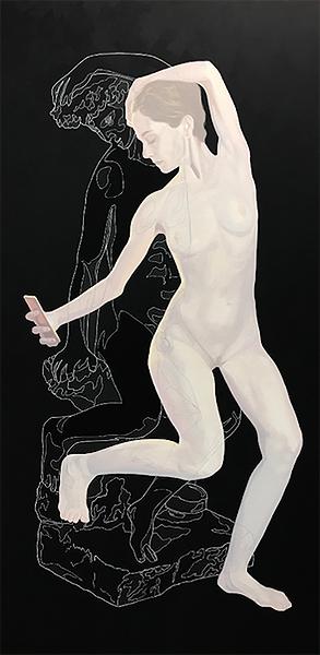 """Carmen González Castro, Lo que amas, lo pierdes en cuanto te vuelves de espaldas"""". 2019, encre de chine et huile sur toile, 146 x 73 cm."""
