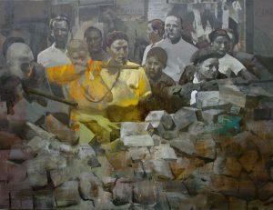 Javier Artica Barricada. 2016, óleo sobre tabla, 103 x 130,5 cm