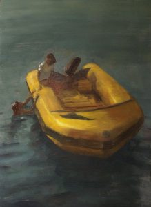 Javier Artica, Lifeboat. 2016, oil on plywood, 92 x 66 cm