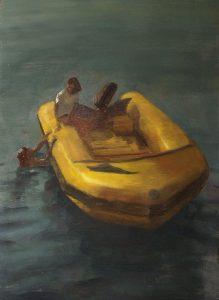 Javier Artica, Bote salvavidas. 2016, óleo sobre tabla, 92 x 66 cm
