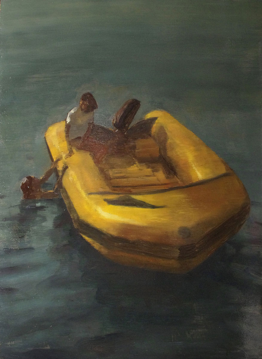 Javier Artica, Lifeboat. 2016, oil on canvas, 92 x 66 cm