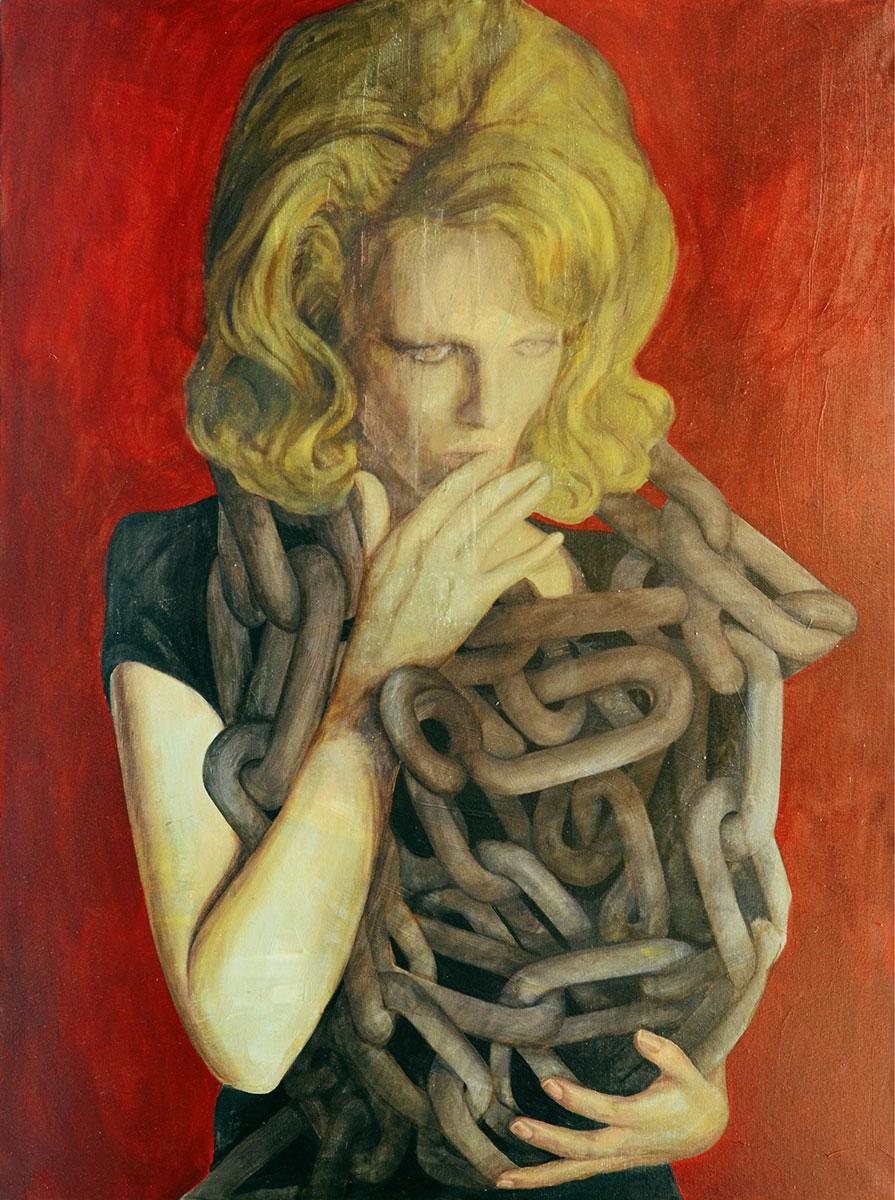 Javier Artica, Chains. 2018, oil on canvas, 130 x 97 cm