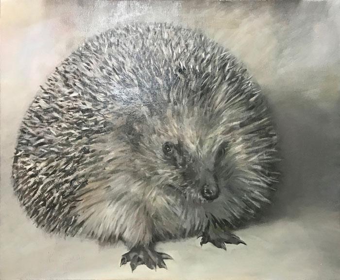 Javier Artica, Hedgehog. 2019, oil on canvas, 70 x 62 cm.
