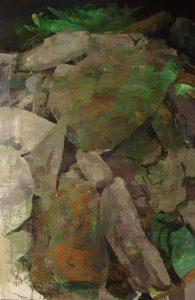 Javier Artica, Montón de piedras. 2016, óleo sobre lienzo, 160 x 103,5 cm