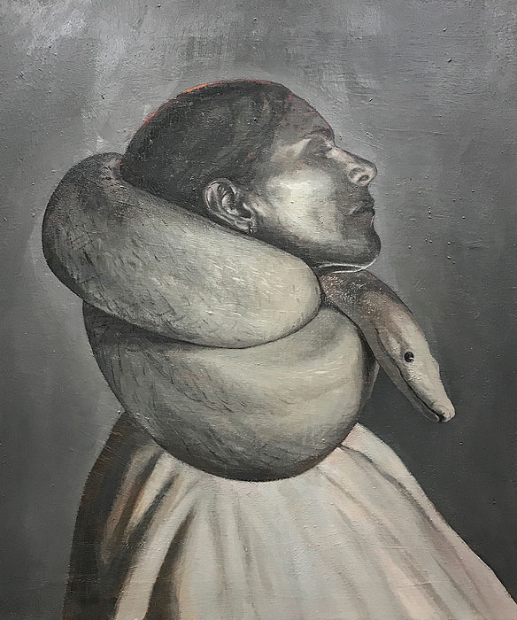 Javier Artica, Snake in The Neck. 2019, oil on canvas, 62 x 51 cm.