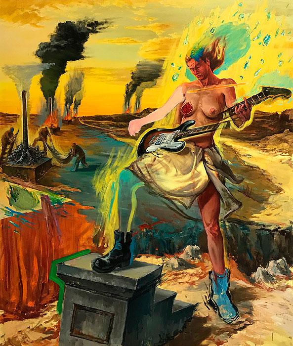 Juana González, La quema. 2015, huile sur toile 200 x 170 cm