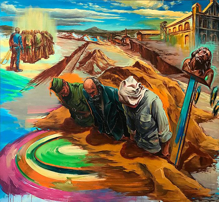 Juana González, Restos. 2014, huile sur toile 172 x 185 cm