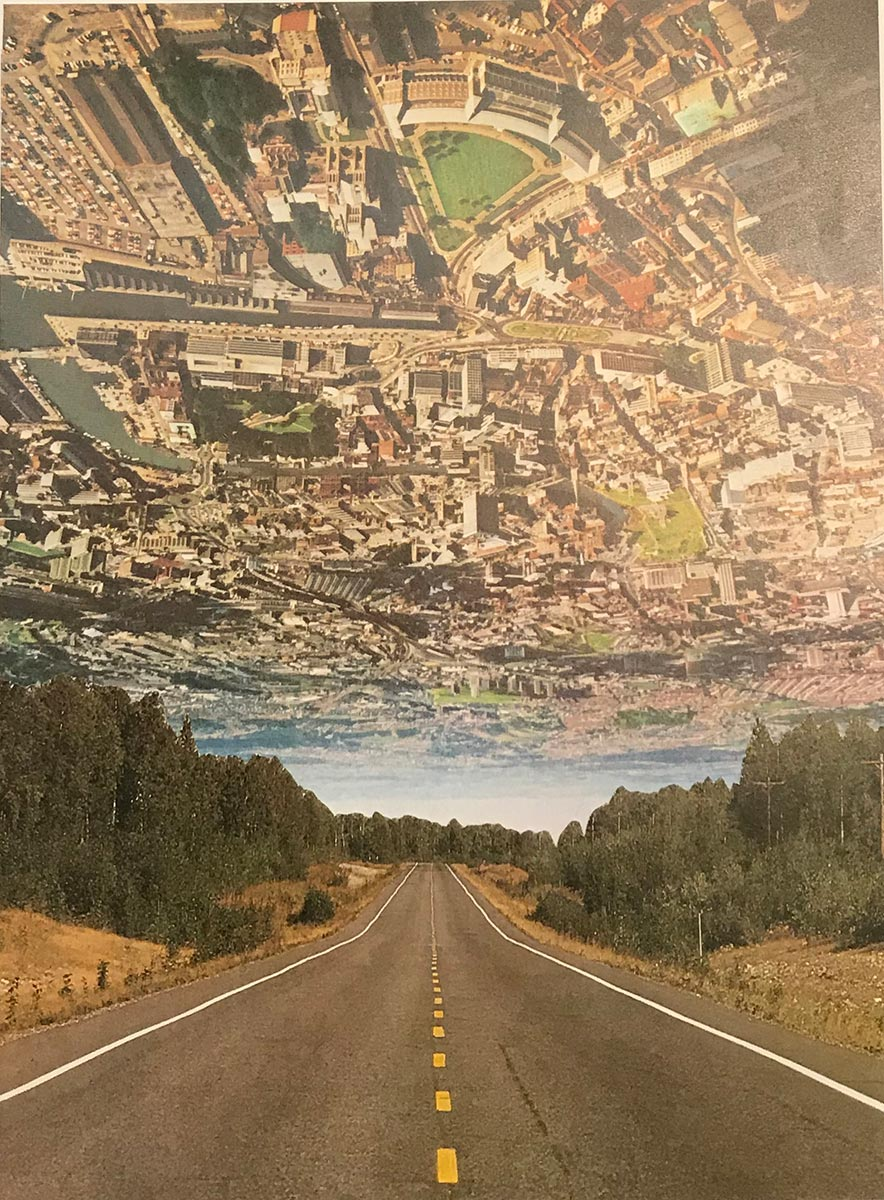 Javier Artica, Carretera. 2019, collage sur papier, dimensions variables.