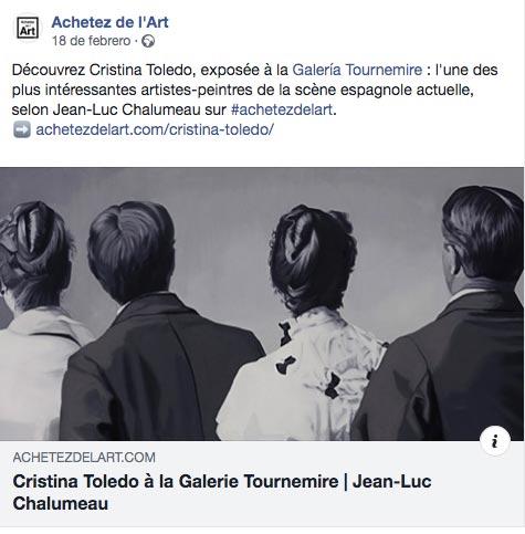 """""""Cristina Toledo, emergent artist of the scène espagnole"""" by Jean-Luc Chalumeau, Achetez de l'Art, 18/02/19"""