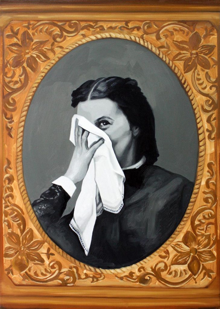 Cristina Toledo, Girl Behind a Tissue. 2018, oil on canvas, 95,5 x 65 cm.