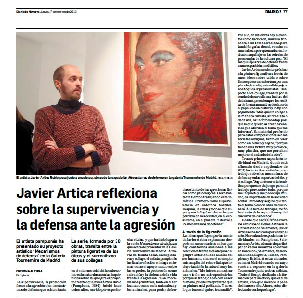 """Javier Artica reflects on survival and defense against aggression"" by Cristina Altuna, Diario de Navarra, 07/02/19"