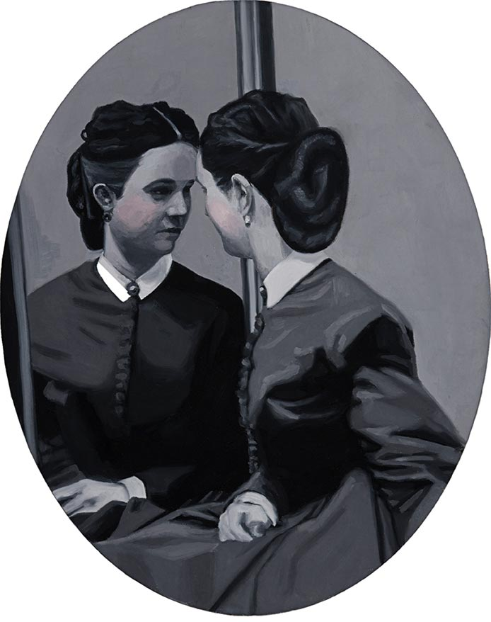 Cristina Toledo, Looking into a Mirror. 2018, oil on canvas, 50x40 cm.