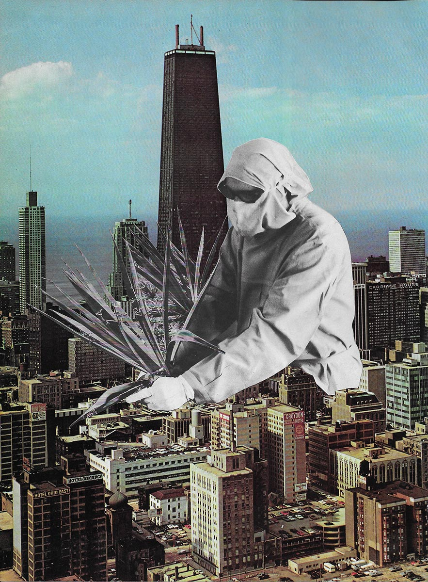 Javier Artica, First Plant. 2017, collage on paper, framed, 38 x 30 cm.
