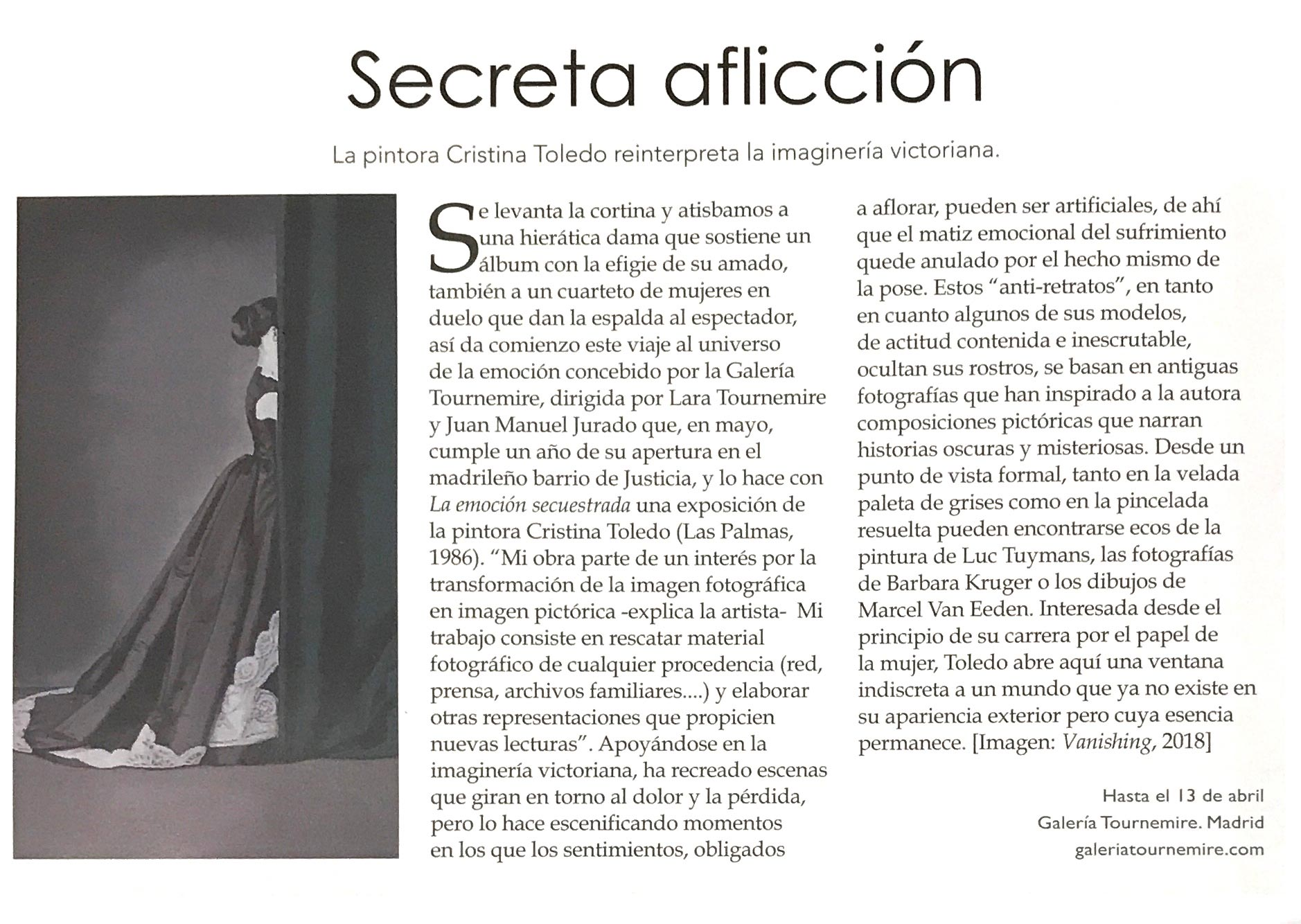 "Editorial ""Secret afliction"", Art Market Trends, n°121, march 2019"