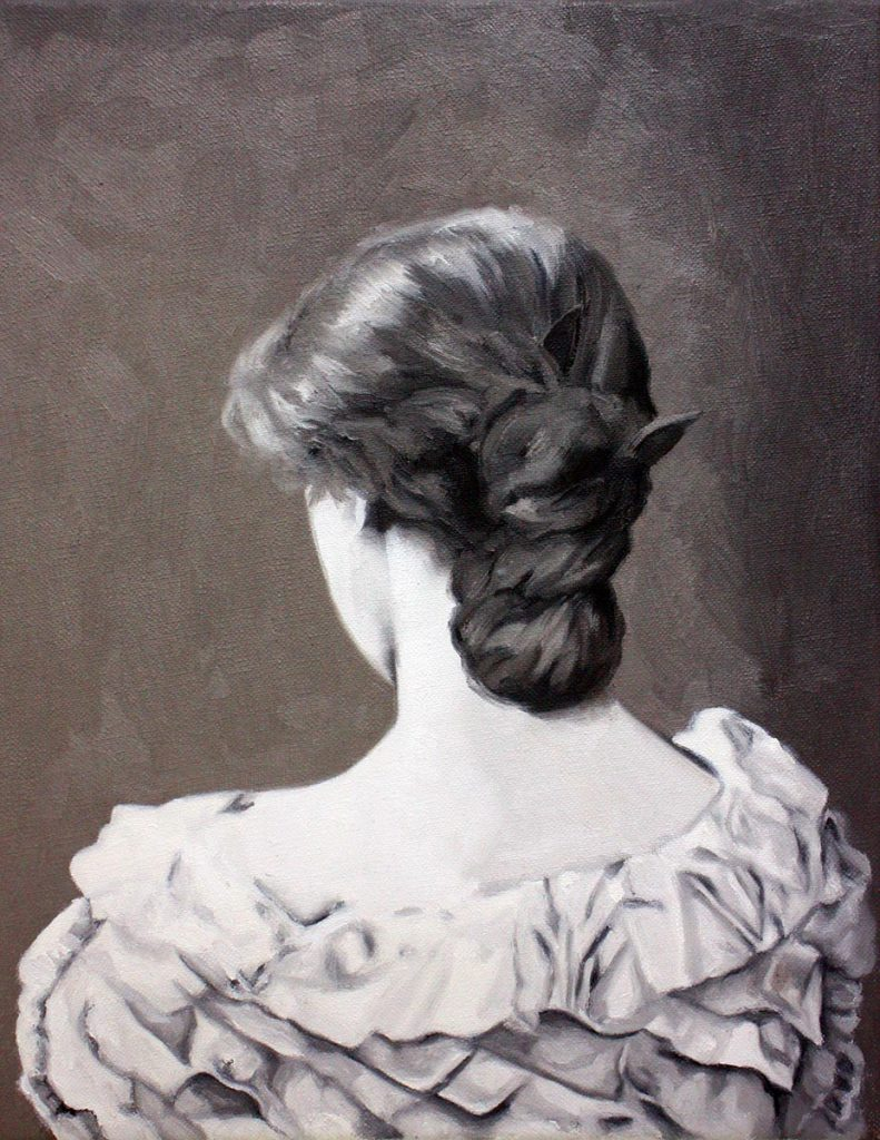 Cristina Toledo, Showing her Back. 2018, oil on canvas, 35 x 27 cm.