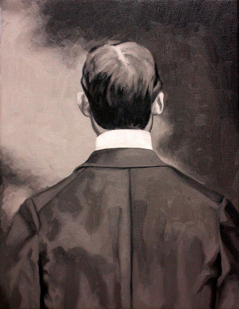 Cristina Toledo, Showing his Back. 2018, oil on canvas, 35 x 27 cm.