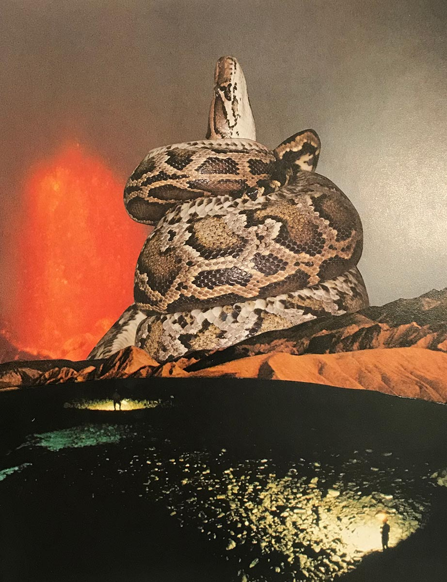Javier Artica, Tower-Piton. 2019,, collage on paper, variable dimensions.