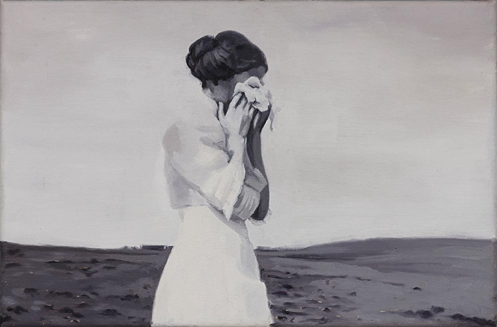 Cristina Toledo, Weeping. 2018, oil on canvas, 27 x 41 cm.