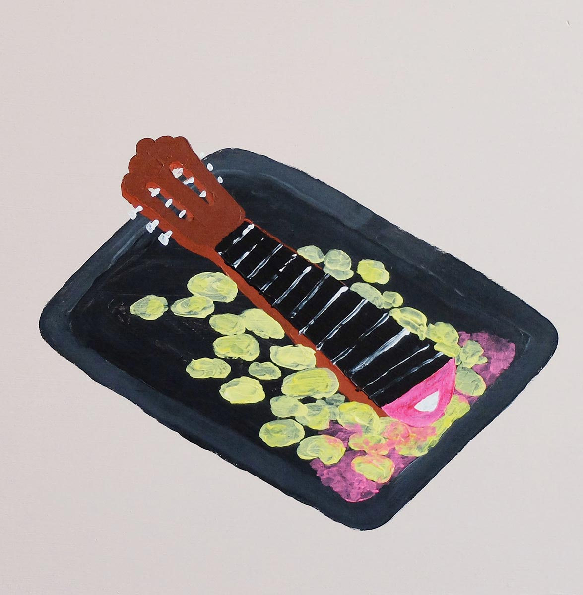 Pata de spanish guitar al horno with patatitas, 30x30 cm, acrylic on plywood, 2016