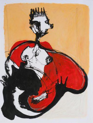 Christophe FasoAbus de pouvoir. Série Passerelles Charnelles2014, encre et acrylique sur papier, 65 x 50 cm
