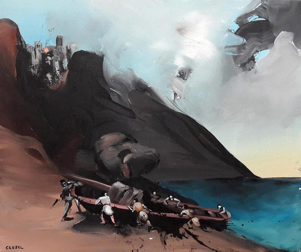 Débarquement. 2018, acrylique sur toile, 46 x 55 cm