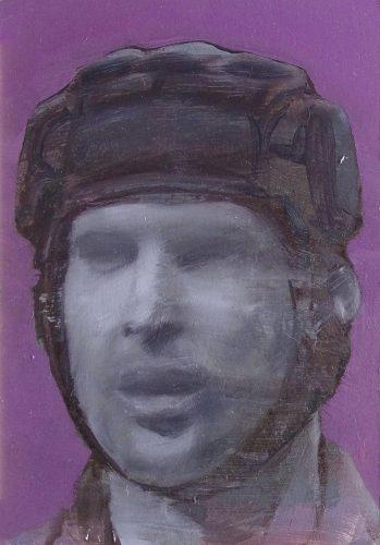 El casco de Petr Czech. 2016, óleo sobre tabla, 28 x 19 cm