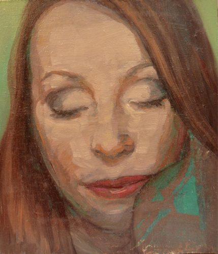 Ojos cerrados. 2016, óleo sobre tabla, 21.5 x 18 cm