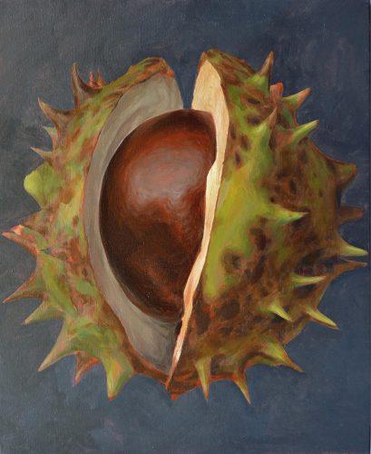 Púas de la castaña. 2018, óleo sobre lienzo, 54 x 65 cm