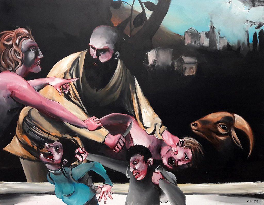 La violence, c'est pas bien. 2018, acrylique sur toile, 89 x 116 cm