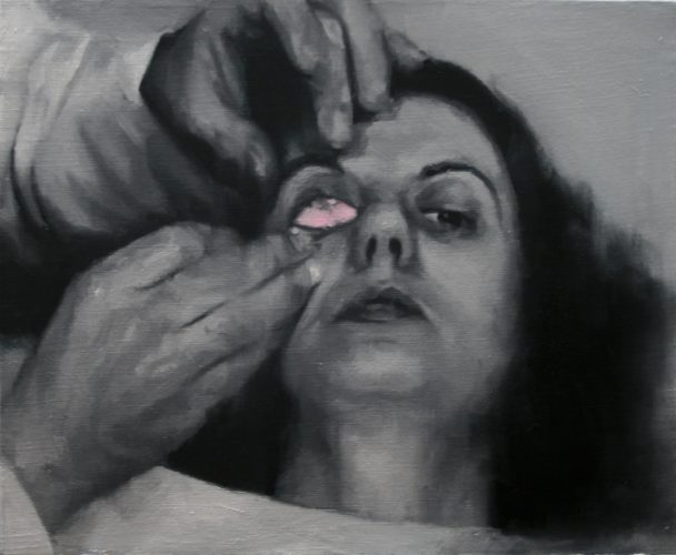 María Carbonell, The pink eye. 2016, oil and acrylic on linen, 38 x 46 cm