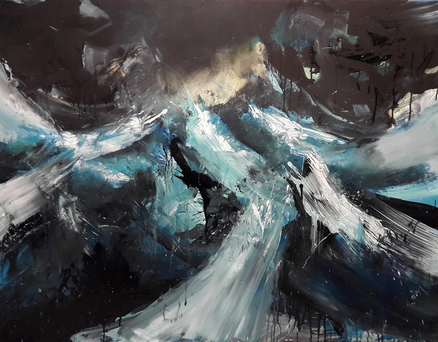 Tempête. 2018, acrylique sur toile, 89 x 116 cm